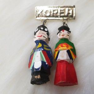 Jewelry - Korea Wooden Handcarved Pin Brooch
